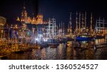 The tall ship races in Szczecin (Stettin) at night