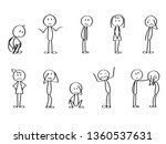 set of sad stick men. crying ... | Shutterstock .eps vector #1360537631