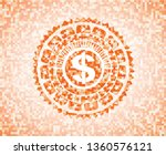 money icon inside orange mosaic ...   Shutterstock .eps vector #1360576121