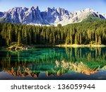 Stock photo karerlake at the dolomites in italy 136059944