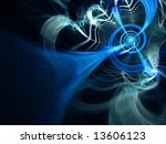 Blue Lightning Network - fractal illustration - stock photo