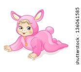 baby bunny girl. funny baby in... | Shutterstock .eps vector #136061585