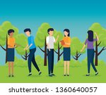 women and men with trees...   Shutterstock .eps vector #1360640057