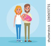 family with kids cartoon   Shutterstock .eps vector #1360653731