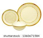 golden dinner set  cookware set ... | Shutterstock . vector #1360671584