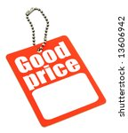 price tag with copy space isolated on white - stock photo
