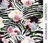zebra striped animal and floral ... | Shutterstock .eps vector #1360705211