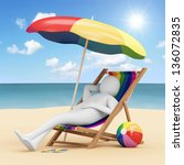 3d Man Lying on a Beach Chair with Umbrella and Different Accessories for Vacation near the Sea - stock photo