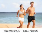 couple running. sport runners...   Shutterstock . vector #136073105