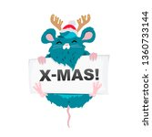 rat santa claus in a red hat... | Shutterstock .eps vector #1360733144