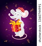 cheerful little mouse in a red... | Shutterstock .eps vector #1360744991