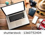 laptop and travel accessories...   Shutterstock . vector #1360752404