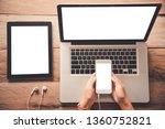 topview businessmen use...   Shutterstock . vector #1360752821