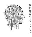 circuit abstract human head...   Shutterstock .eps vector #136079159