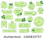 green leaves labels. eco ... | Shutterstock . vector #1360810757