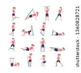Set Sporty Woman Doing...
