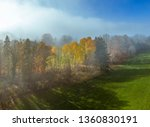 trees on a meadow in morning... | Shutterstock . vector #1360830191