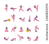 set different poses pregnant...   Shutterstock .eps vector #1360833254