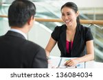 cheerful businesswoman... | Shutterstock . vector #136084034