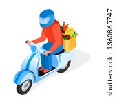 scooter rider delivers food... | Shutterstock .eps vector #1360865747