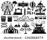 amusement park silhouette.... | Shutterstock .eps vector #1360868474