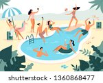Swimming Pool Party. Summer...