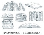 books engraving. vintage open... | Shutterstock .eps vector #1360868564