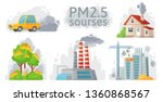 air pollution source. pm 2.5... | Shutterstock .eps vector #1360868567