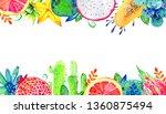 rectangular frame with exotic... | Shutterstock . vector #1360875494