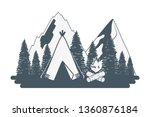 outdoor camping cartoon | Shutterstock .eps vector #1360876184