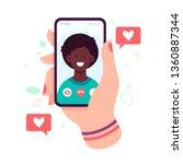 female hand holding smartphone... | Shutterstock .eps vector #1360887344