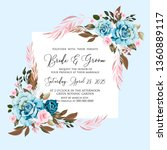 watercolor blue rose wedding... | Shutterstock .eps vector #1360889117