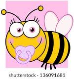 baby girl bee cartoon character   Shutterstock .eps vector #136091681