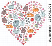 vector set of beautiful round... | Shutterstock .eps vector #1360931021