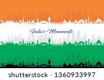 illustration of famous indian... | Shutterstock .eps vector #1360933997