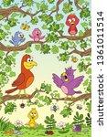 funny birds in tree. hand draw... | Shutterstock .eps vector #1361011514