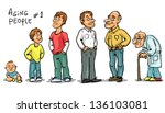 Aging people  - set 1, Men at different ages. Hand drawn cartoon men, family members isolated, sketch