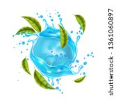 realistic pure water with mint... | Shutterstock .eps vector #1361060897
