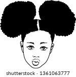 hand drawn black girl  kiss... | Shutterstock .eps vector #1361063777