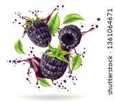 realistic blackberry juice...   Shutterstock .eps vector #1361064671