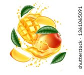 realistic mango fruits with...   Shutterstock .eps vector #1361065091