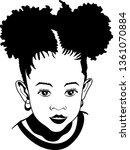 afro girl vector  ponytail | Shutterstock .eps vector #1361070884