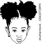 small afro girl vector  lips | Shutterstock .eps vector #1361072894