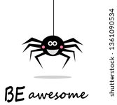 smiling spider hanging down on... | Shutterstock .eps vector #1361090534