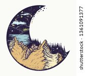 moon and mountains color tattoo ... | Shutterstock .eps vector #1361091377