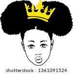 afro girl with crown vector | Shutterstock .eps vector #1361091524