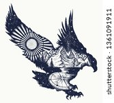 eagle double exposure tattoo... | Shutterstock .eps vector #1361091911
