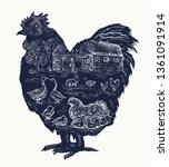 rooster double exposure tattoo  ... | Shutterstock .eps vector #1361091914