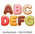 cookies with colorful icing abc ... | Shutterstock .eps vector #1361110364