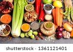 healthy vegan and vegetarian... | Shutterstock . vector #1361121401
